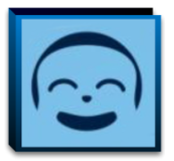 Logo featuring a blue square with the outline of smiling face in the center.