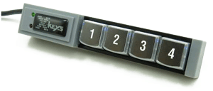 4 Key Version of the X-Keys;  4 keys in a row with small controller about the size of two keys on one end.