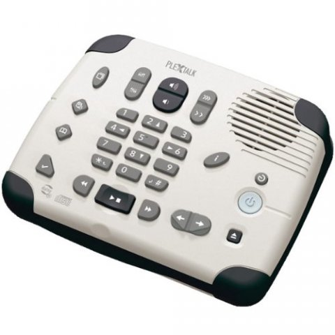 A low-profile rectangular device, white in color, with a number pad, pause play buttons, volume control, and a speaker.