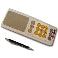 Beige handheld rectangular device the width of a standard mouse and twice the length of a pen with a touchpad and directional keys.