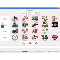AAC board on a computer screen with simply drawn icons. For example, a finger is drawn pointing to ABC, or to 123, a side view of a head with lines radiating from an open mouth, an analog clock face, a pair of lips, etc.