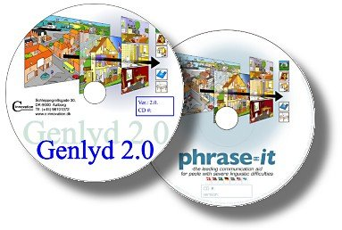Genlyd 2.0 and Phrase-it software DVD's with animation on top and logo on bottom.