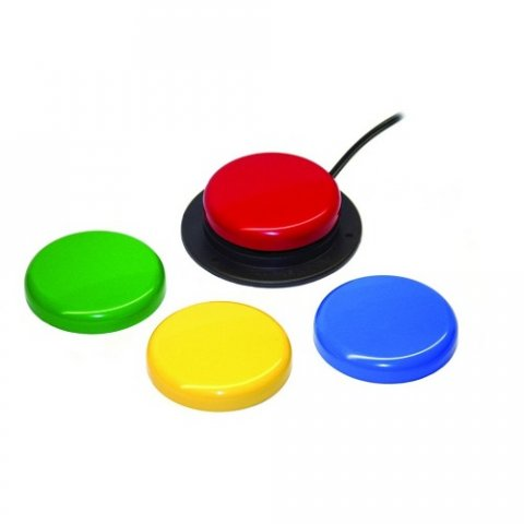 Four round single color switches. Red button mounted on small round black platform and connected by a black wire.