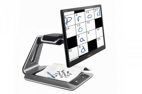 Large rectangular screen attached to a stand with base and crossword on the screen.