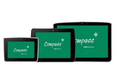 Small, medium, and large tablets stacked next to each other with Compass software logo on screens.