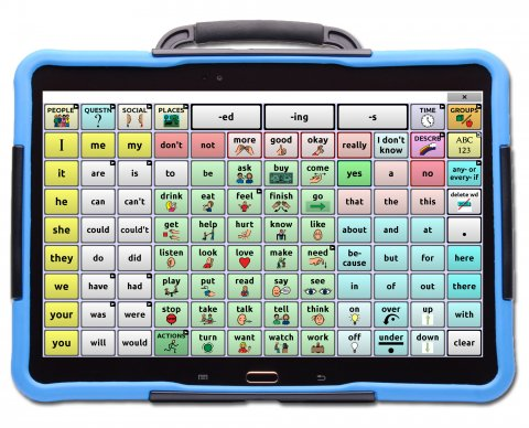 Word selection screen on a blue tablet with a handle displaying a 8x12 communications grid.