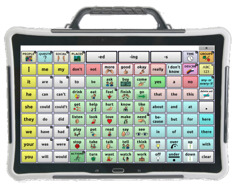 Word selection screen on a gray tablet with a handle displaying an 8x12 communications grid.