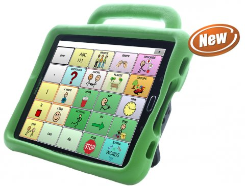 Word selection screen on a green tablet with a handle displaying a 5x5 communications grid.