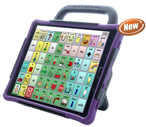 Word selection screen on a purple tablet with a handle displaying a 6x10 communications grid.