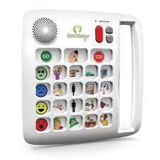 White-colored device with 23 individual message slots, each containing a different symbol or image, below a small, round speaker and a control button panel. Device has built-in side handle on right side.