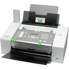 Large white and gray printer / fax machine with multiple button settings.