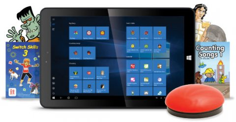 A tablet device with a red button-style switch connected and assistive educational software displayed on screen.