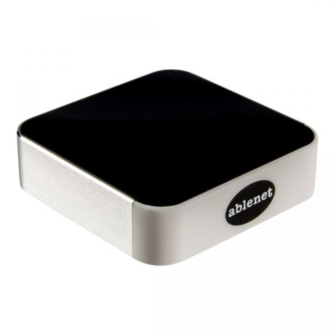 Square, black device with the Ablenet logo on one side.