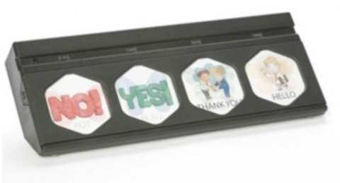 A long, rectangular device with four four plastic inserts, each with a communication option on it.