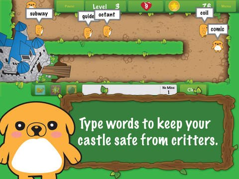 """Screenshot of dog-like creature in front of a maze, saying """"Type words to keep your castle safe from critters."""""""