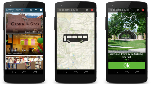 """3 examples of WayFinder screens showing photos of locations, a bus with a map in the background and """"Trip to Jamba Juice"""" at the top, and a photo of a park captioned """"You are now driving by Martin Luther King Jr. Park."""""""