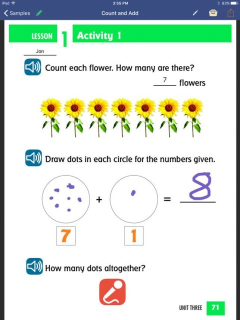 A count and add worksheet titled Lesson 1, Activity 1. Three questions follow, each including buttons to the left that will read the text aloud when selected.