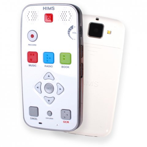 White handheld device the size and shape of a mobile phone with control and navigation buttons on the front and a camera on the back.