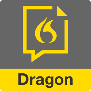 Dragon Anywhere logo, a rectangular shape with Dragon written in yellow across the bottom and a conversation cloud in the upper half.