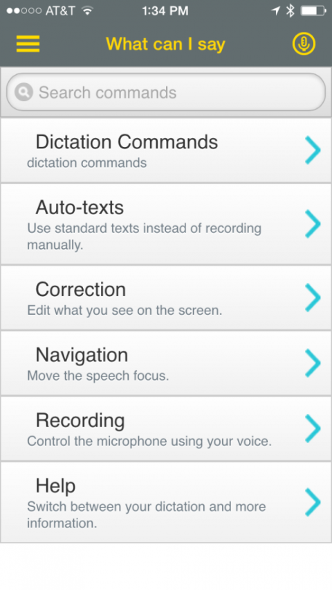 Screenshot of the home screen listing the capabilities of the app.