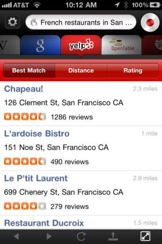 """Screenshot of the Dragon Go! app demonstrating search results for """"french restaurants in San Francisco"""" on the Yelp website."""