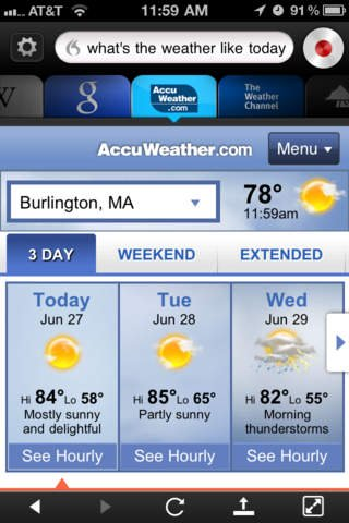 Screenshot of the Dragon Go! app open to the AccuWeather.com site in response to being asked for the weather.