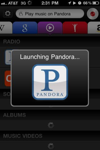 Screenshot of the Dragon Go! app demonstrating the Pandora site being launched in response to it being directed to do so.