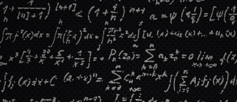 Scientific document covered in various formulas in white text on a black background.