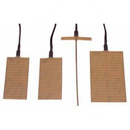Three rectangular brown colored pads with black cords connected at one end. There is one thin stick with a thin brown strip at one end and a black cord connected to it.