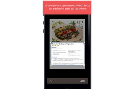 Screenshot of a sample recipe on an iPhone with text highlighted in a box below a photo of the recipe.
