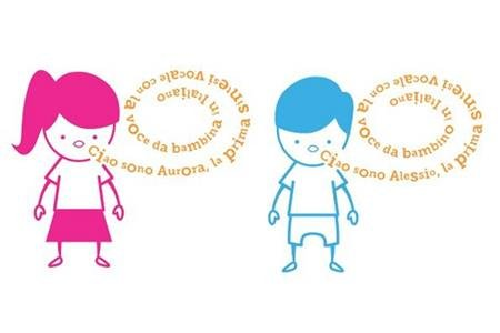 Aurora and Alessio logo showing a small girl drawn in pink with a word bubble coming from her mouth, Alongside her is a boy drawn in blue with a word bubble also.