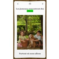 Book reading screen featuring a photo of a boy and a girl with a dog and caption above and below in French.