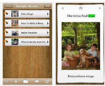 """Story library menu titled """"Sample Stories"""" featured next to a photo of children with a dog. Menu options include: Fairy Wings, How to Write a Story, Italian Vacation, and What I Like By Josh."""