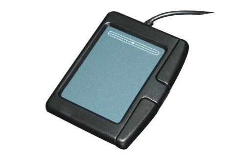 Arial view of a black touchpad and display connected to a wire.