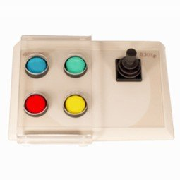 White rectangular device with four colored buttons on left side and joystick on right side.