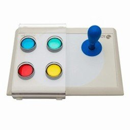 White rectangular device with four colored buttons on left side and blue joystick on right side.