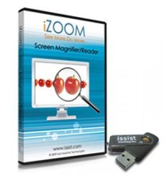 iZoom Magnifier/ Reader softare CD-ROM case with apples zoomed in on a computer screen and the iZoom USB version next to it.
