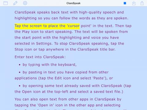 ClaroSpeak screenshot with visual highlighting in body of text.