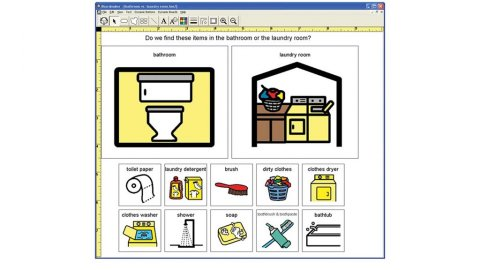 A computer screenshot with various simple images of items in a home.