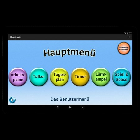 Visual representation of app on screen with several menu choices, including a talker.
