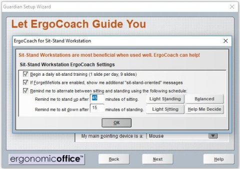 Menu for sit-stand workstation ErgoCoach settings with timing options.