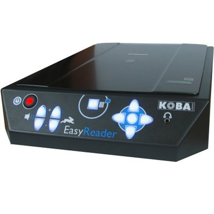 A device that resembles a standard flatbed scanner with large, touch button controls on the inclined, front side.