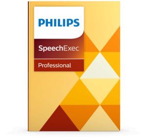 Phillips SpeechExec logo with a monochromic layout of gold and orange triangles.