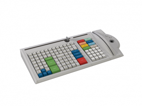 Gray keyboard with multicolored keys, magnetic stripe reader, and numerical keypad