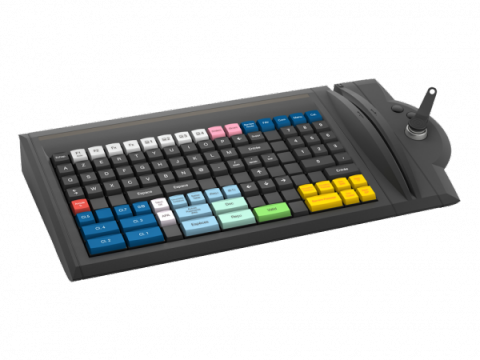 Black keyboard with multicolored keys and magnetic stripe reader