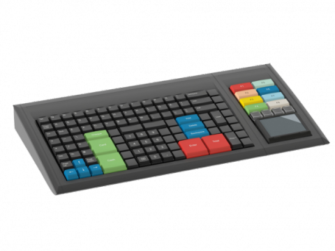Black keyboard with multicolored keys and touchpad extension
