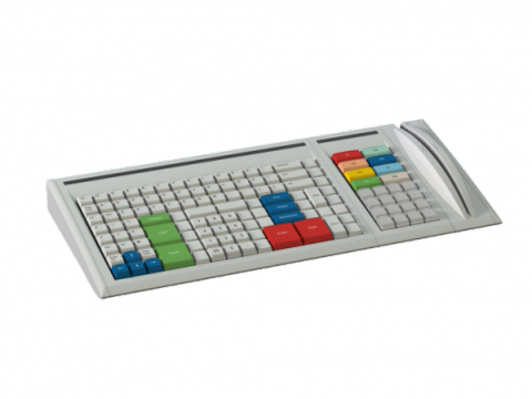 Gray keyboard with muticolored keys and magnetic stripe reader