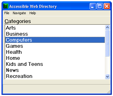 "A dialogue box with a list of categories, with the category ""Computers"" selected in blue."