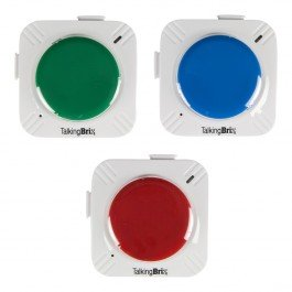 Three rectangular switches in green, blue, and red.