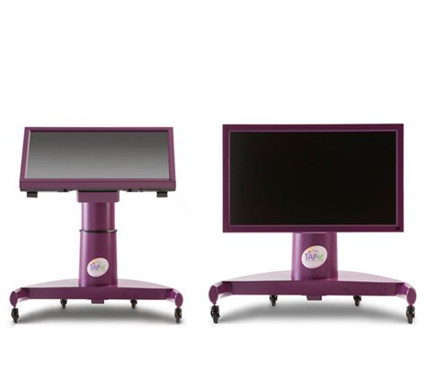 """42"""" LCD shown tilted at an angle and vertical with integrated stand on casters."""